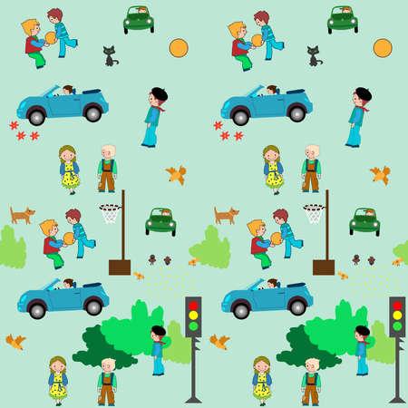 Stadt der Kinder. Es zeigt Kinder leben wie Sport, Fuß ect Standard-Bild - 9911814