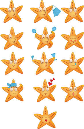 Sea stars icons set with different mood Vector