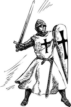 Catholic knight graphic doodle illustration in fight Ilustracja