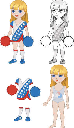 Costume blonde cheerleader girl set for kids play Vector