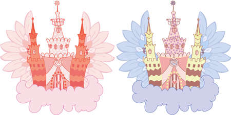 Cartoon fairy castle on a cloud  set Stock Vector - 10120722