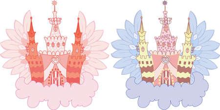 Cartoon fairy castle on a cloud  set Vector