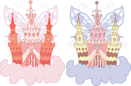 Cartoon fairy castle on a cloud  set Vector