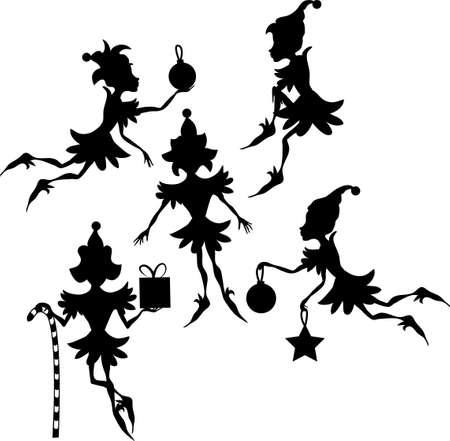 elf christmas: Algunas siluetas de elfos aislaron sobre fondo blanco