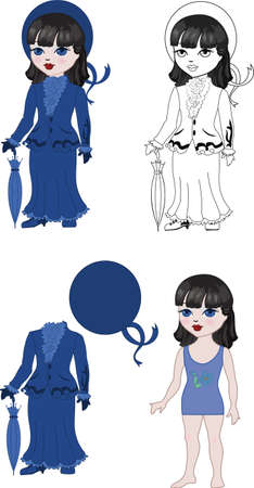 Costume brunette girl set for kids play Vector