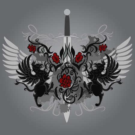 Conception de fantaisie avec gryphon et roses sur fond noir