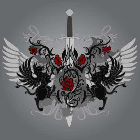 mythical: Fantasy design with gryphon and roses on black background