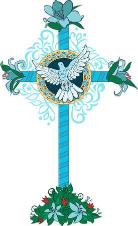 simbol: Croce consiste di fiori e foglie su sfondo di travi
