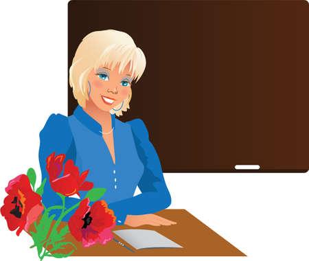 teacher student: Profesor bastante sonriente con flores contra la pizarra