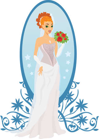Happy bride with roses and mirror against ornament Illustration