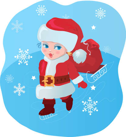 Kid like Santa with gifts. Stock Vector - 10345148