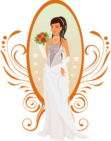 woman in mirror: Happy bride with roses and mirror against ornament Illustration