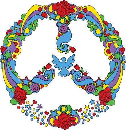 simbolo paz: Símbolo de la paz con flores y estrellas de estilo pop-art Vectores