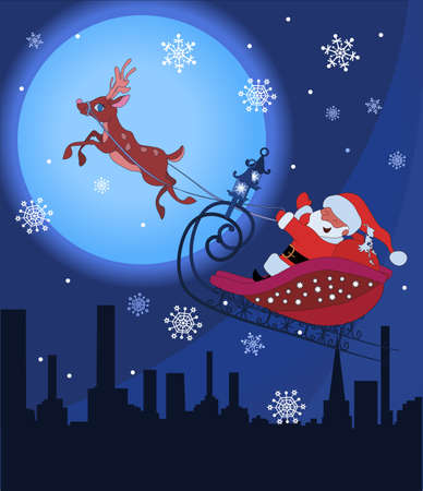 Santa Claus on sledge with Rudolf flying over night town and delivering his christmas gifts