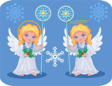 Christmas cute angels catholic, orthodox set with snowflakes Illustration