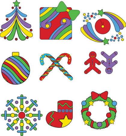 Set of Christmas icons in pop-art style isolated on white Vector