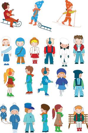 vie �tudiante: Les enfants caricature illustration de vecteur set hiver pour votre conception