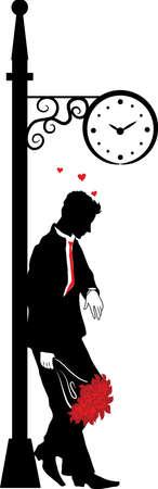 boyfriend: Gr�fico silueta del hombre. Esperando a la mujer bajo el reloj. Serie de Stefan