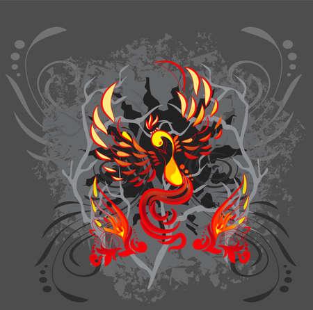 rebirth: Phoenix illustration on a grunge background