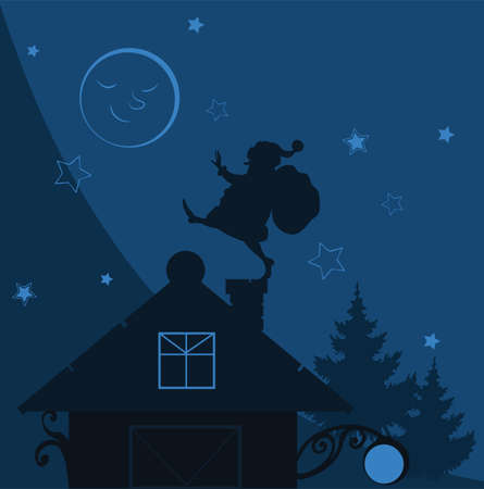 Santa Claus silhouette with gift on chimney christmas vector illustration