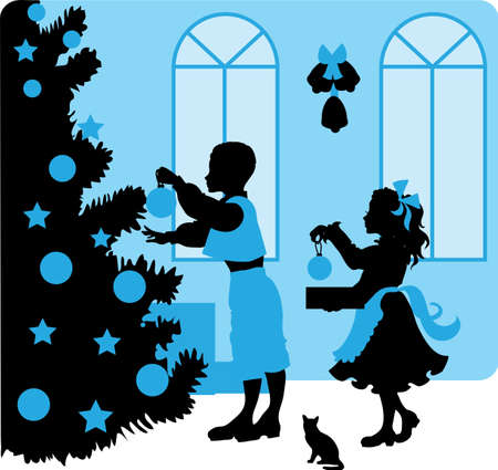 vector illustration silhouette of kids near a Christmas tree with gifts Illustration