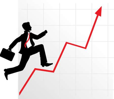 market analysis: Running businessman on successful diagram