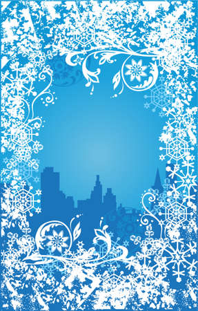 merrytime: Winter background. Ornate leaves, flowers and snowflakes Illustration