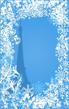 merrytime: Winter France background. Ornate leaves, flowers and snowflakes