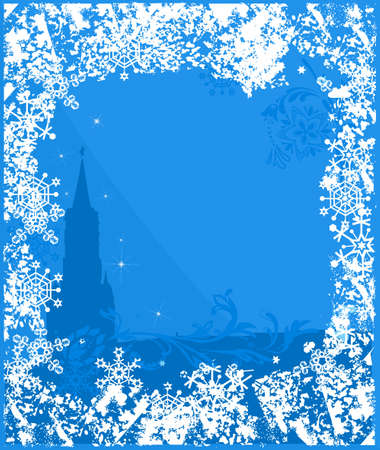 Winter Russia background. Ornate leaves, flowers and snowflakes Stock Vector - 10818269