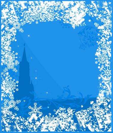 kremlin: Winter Russia background. Ornate leaves, flowers and snowflakes Illustration