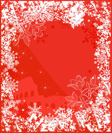 merrytime: Winter Italy background. Ornate leaves, flowers and snowflakes