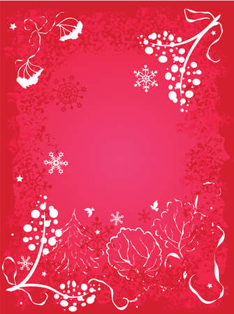 Winter background. Ornate leaves, flowers and snowflakes Stock Vector - 10869777