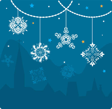 snow crystals: Christmas card. Set of snowflakes with urban landscape