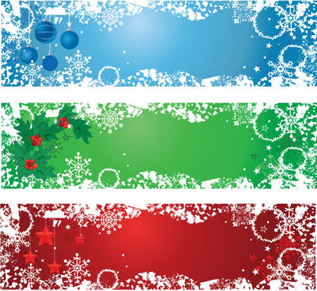 Three Christmas banners. Blue, green, red with winter decoration.