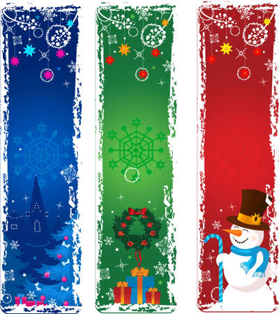 Three vertical Christmas banners. Blue, green, red with snowman, gifts and tree.
