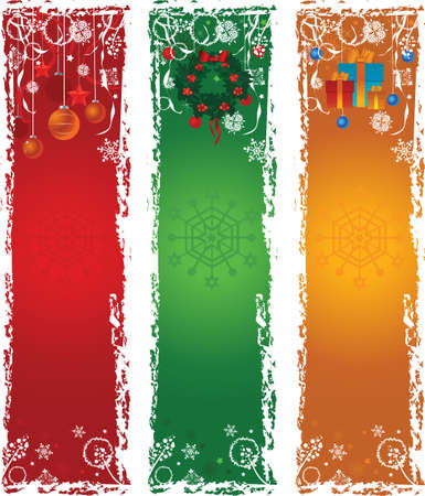 Three vertical Christmas banners. Blue, green, red with winter decoration. Vector