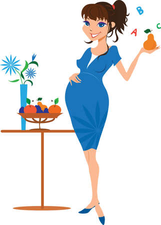 likable: Smiling pregnant woman with pear vector illustration