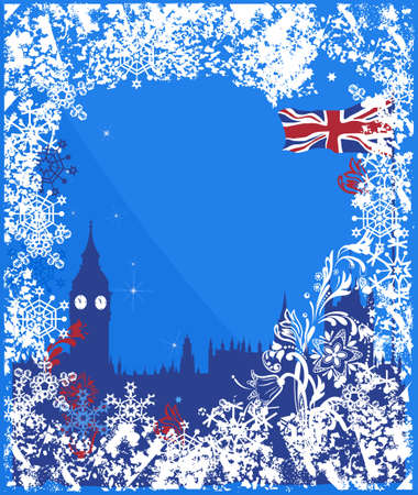 merrytime: Winter England background vector . Ornate leaves, flowers and snowflakes Illustration