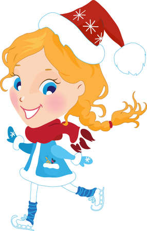 Little girl on the skates in christmas hat vector illustration Vector