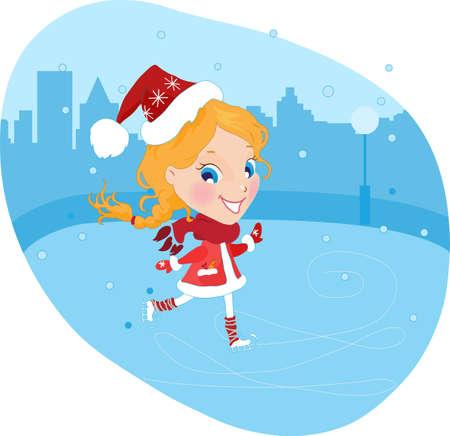 Little girl on the skates in christmas costume vector illustration Illustration