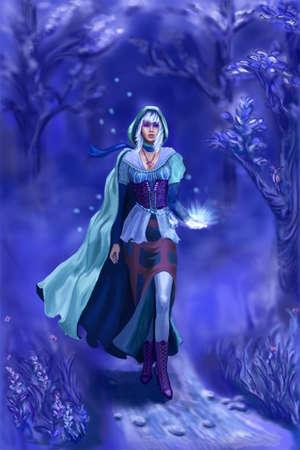 Die Nymphe fo die blaue Wald Raster-Darstellung Standard-Bild - 11294366