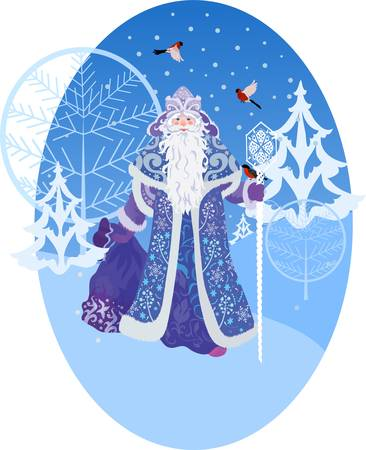 Ded Moros und Vögel russischen Stil mit Wald-Hintergrund Standard-Bild - 11294375