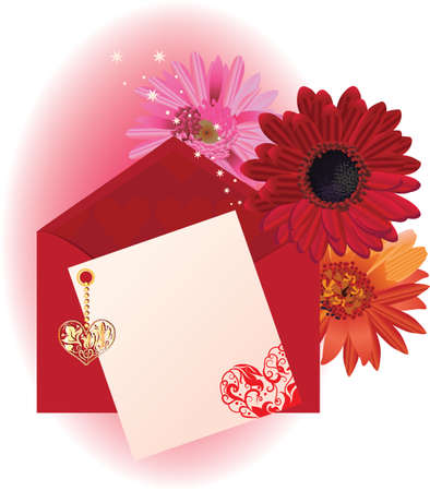 valentine background card with hearts and envelope Vector