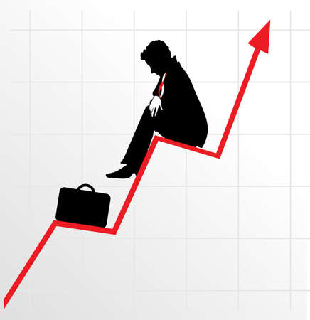 Sitting businessman on successful diagram