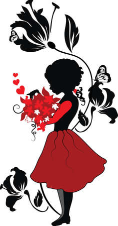 pink and black: Silhouette little girl with lovely bouquet valentine illustration Illustration