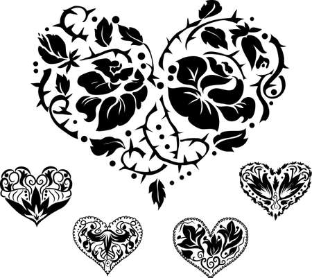 heart tattoo: 5 heart ornate silhouettes for your design Illustration