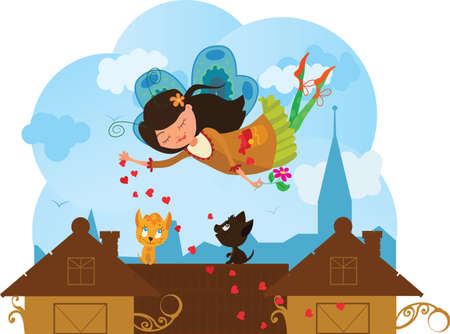 Cute cartoon love fairy with hearts and cats Vector