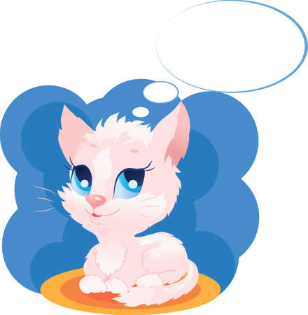 illustration of a thinking  pink cute kitten with bubbles Stock Vector - 11568126