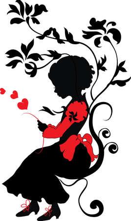 silhouette fleur: Silhouette petite fille avec une lettre d'amour valentine illustration