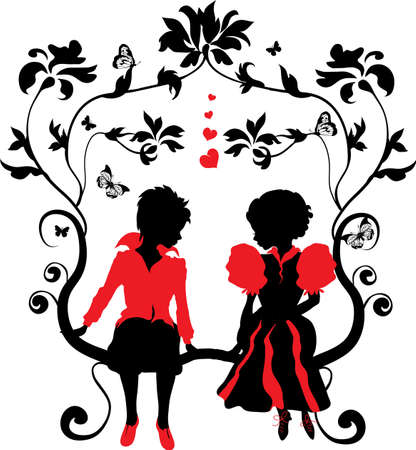 Silhouette little girl and boy with hearts illustration Vector